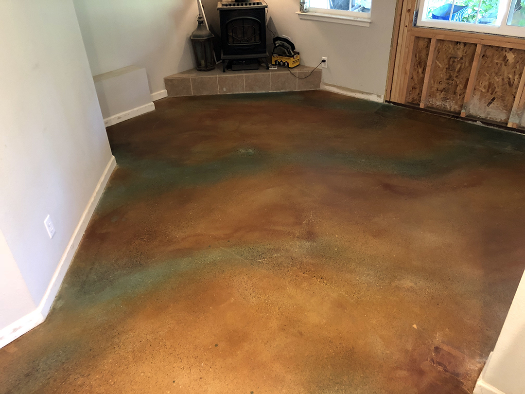 Custom Earth Water Stained Concrete Living Room - After